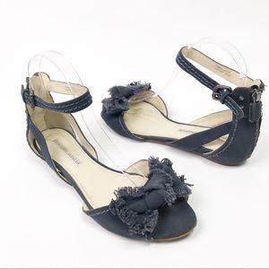 Vera Wang Lavender Denim Fringe Bow Sandal Ankle